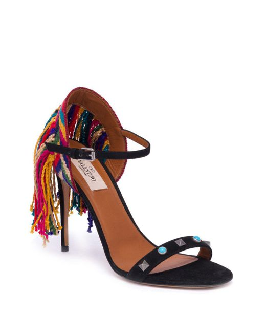 Valentino Rockstud Rolling fringed suede sandals Shop Cheap Price Online Cheap Quality 5jMwx4
