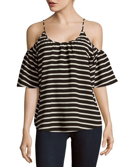 French Connection - Black Polly Striped Cold Shoulder Top - Lyst