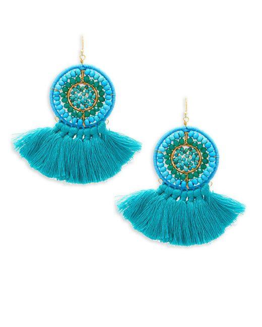 Panacea - Blue Beaded Fringe Drop Earrings - Lyst