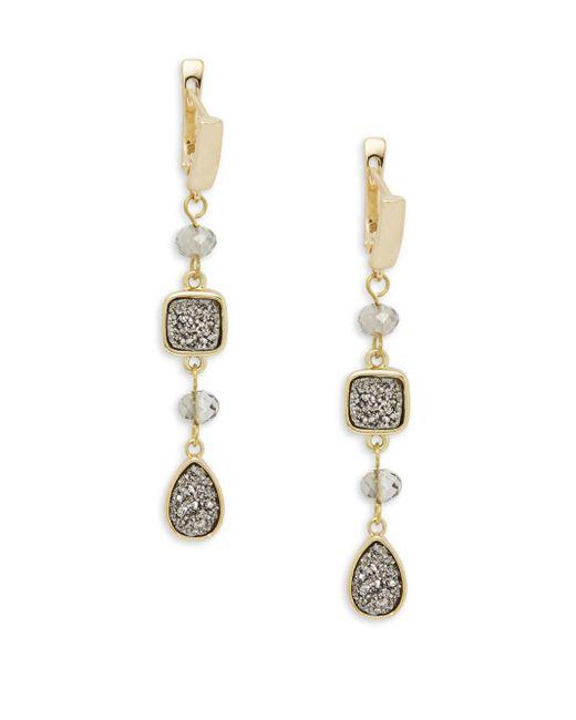 Panacea - Metallic Linear Silver Drusy Earrings - Lyst