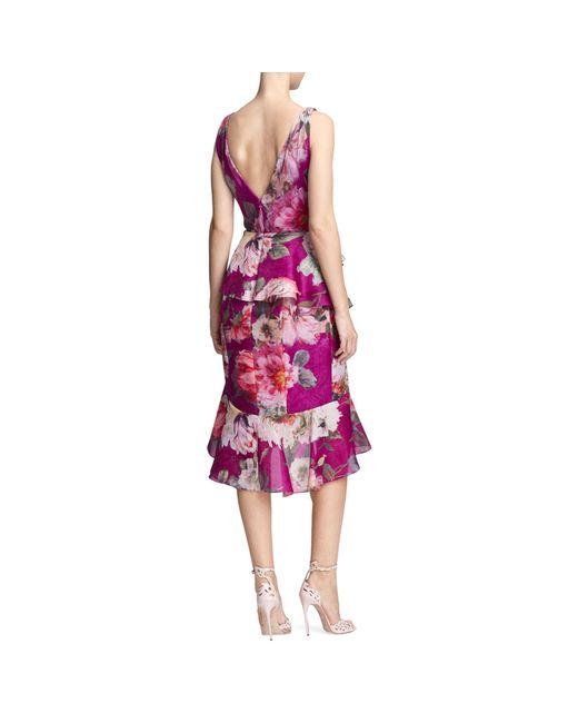 Marchesa Multicolor Orchid Silk Organza Ruffle Dress