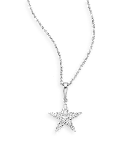 Saks Fifth Avenue - Metallic 0.22 Tcw Diamond Star & 14k White Gold Necklace - Lyst