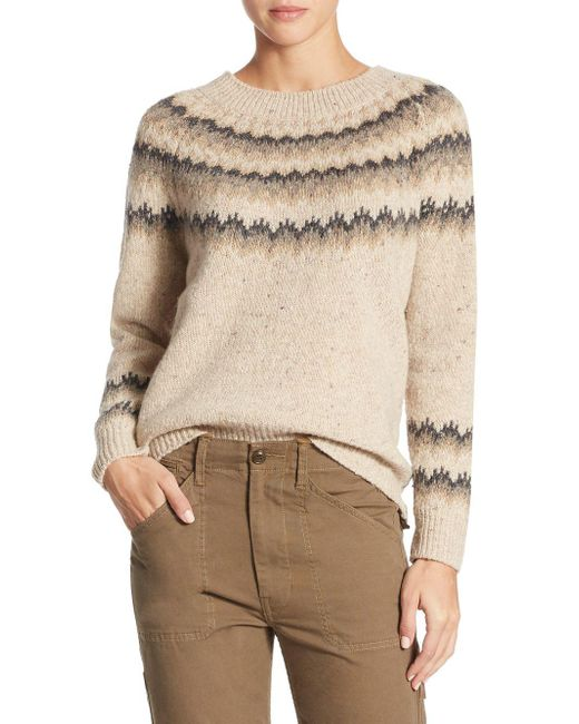 Vince - Natural Fair Isle Cashmere Sweater - Lyst