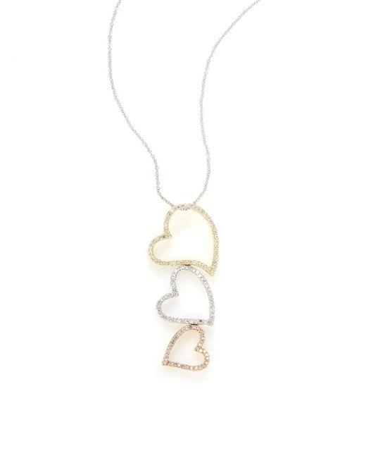 Effy | Metallic Final Call 0.53 Tcw Diamond, 14k Yellow, White & Rose Gold Triple Heart Necklace | Lyst