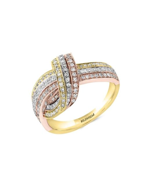 Effy Metallic Women's 14k Yellow, White & Rose Gold Diamond Twist Ring/size 7 - Size 7