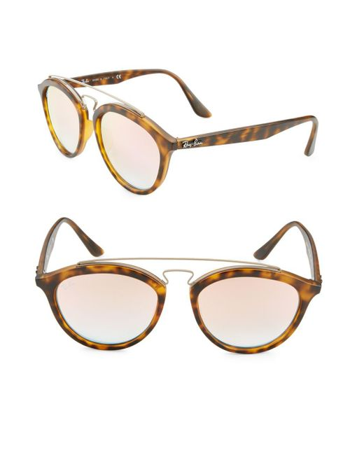 Ray-Ban - Brown Oval Aviator Sunglasses - Lyst
