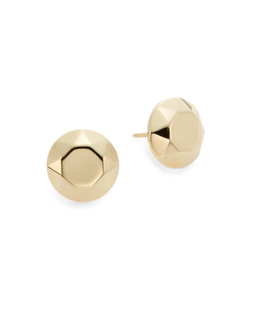 Saks Fifth Avenue | Metallic 14k Yellow Gold Faceted Stud Earrings | Lyst