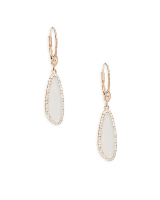 Meira T - Metallic Diamond, Chalcedony & Rose Gold Studded Earrings - Lyst