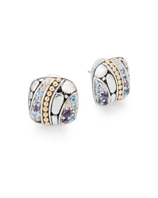 John Hardy | Metallic Kali Sterling Silver, 18k Yellow Gold, Swiss Blue Topaz & Iolite Square Stud Earrings | Lyst