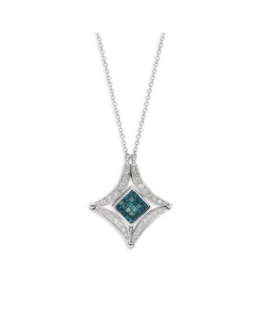 Effy 14k White Gold, White & Blue Diamond Pendant Necklace