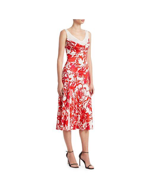 Roberto Cavalli Red Contrast Floral Dress