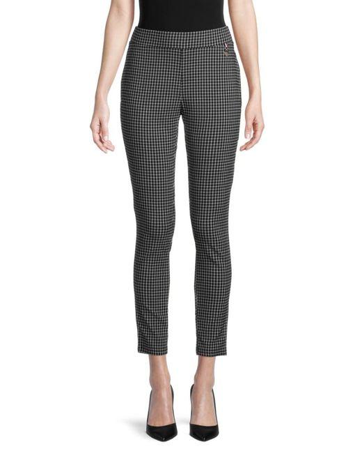 Tommy Hilfiger Women's Grid-print Pants - Jet Black And Grey - Size 14