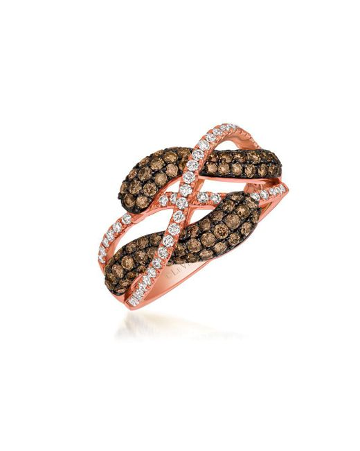 Le Vian - Metallic Chocolate Diamond, Vanilla Diamond And 14k Strawberry Gold Infinity Ring, 1.23 Tcw - Lyst