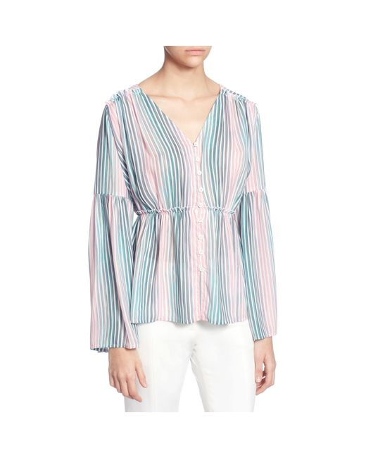 Catherine Malandrino Blue Florrie Striped Blouse