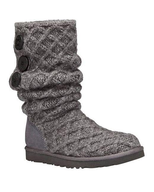 569cd166a64 Women's Gray Woven Wool Knit Tall Boots