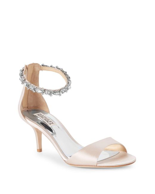 Badgley Mischka - Pink Geranium Metallic Leather Open Toe Sandals - Lyst