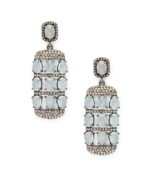 Bavna - Multicolor Diamond, Aquamarine & Sterling Silver Earrings - Lyst