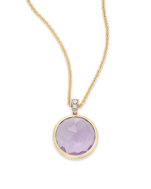 Marco Bicego - Purple Delicati Diamond, Amethyst & 18k Yellow Gold Pendant Necklace - Lyst