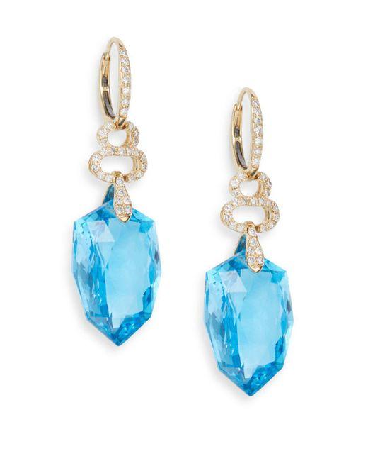 Effy - Blue Topaz, 0.55 Tcw Diamond & 14k Yellow Gold Drop Earrings - Lyst