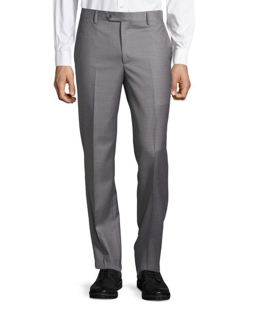 Saks Fifth Avenue Gray Slim Fit Wool Trousers for men