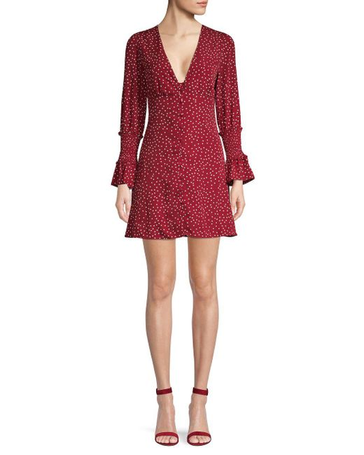 Haute Rogue Red Ruffle-trimmed Dotted Button-front Dress