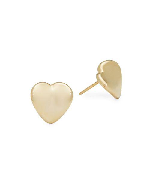 Saks Fifth Avenue - Metallic 14k Gold Heart Studs - Lyst