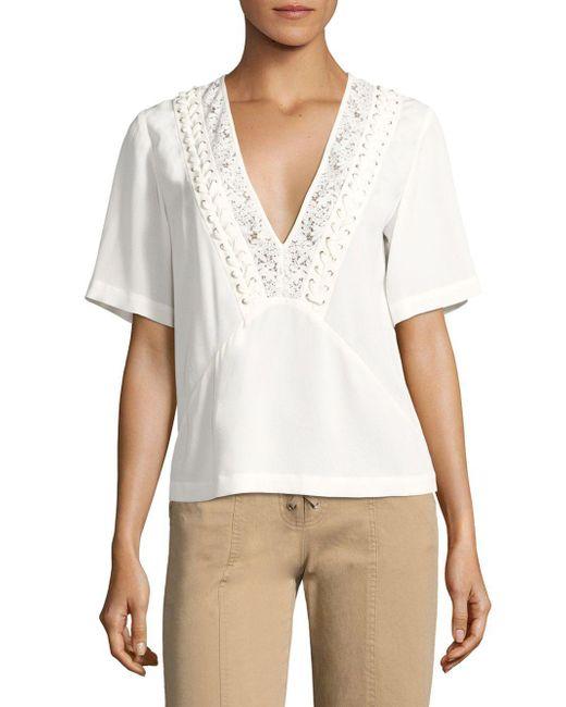 A.L.C. White Annor-up Silk Top