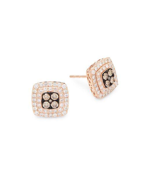 Effy - Metallic Diamond, Brown Diamond & 14k Rose Gold Square Stud Earrings - Lyst