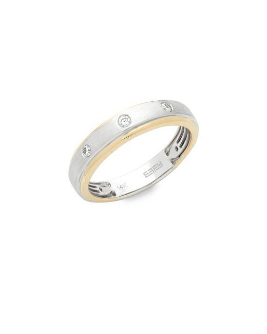 Effy - Metallic Diamond, 14k Yellow Gold And 14k White Gold Ring, 0.15 Tcw - Lyst