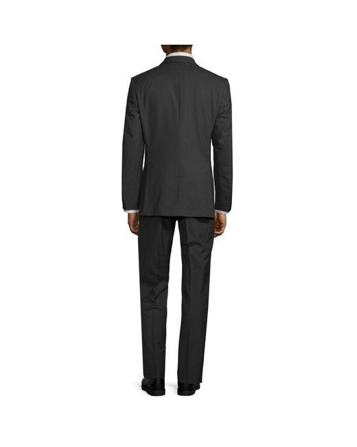 Saks Fifth Avenue Black Two-piece Slim-fit Tonal Plaid Wool Suit for men