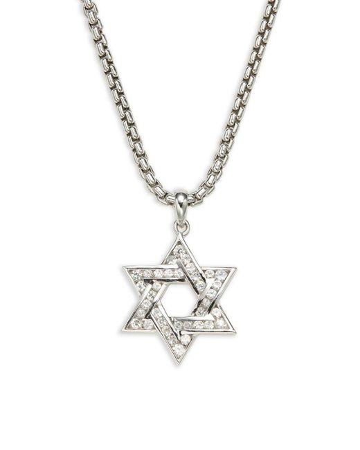 Effy Metallic Men's Sterling Silver, Diamond & White Sapphire Star Of David Pendant Necklace
