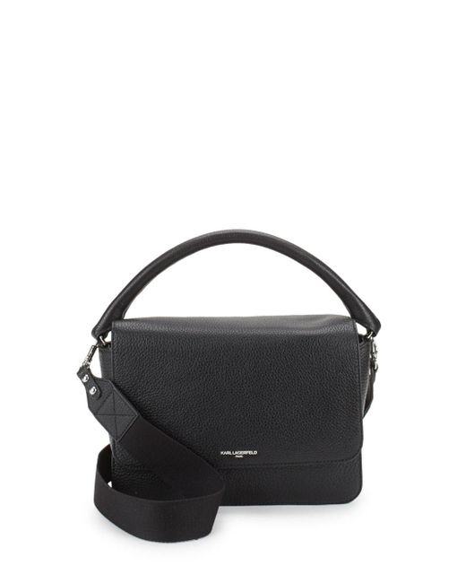Karl Lagerfeld - Black Structured Leather Satchel - Lyst