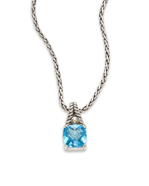 Effy - Multicolor Blue Topaz, Sterling Silver & 18k Yellow Gold Square Pendant Necklace - Lyst