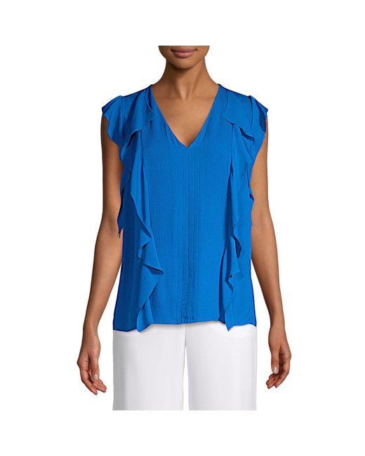 Elie Tahari Blue Silk Top
