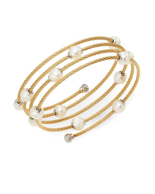 Alor - Metallic Classique 1.6mm White Round Freshwater Pearl, 18k Yellow Gold & Stainless Steel Bracelet - Lyst
