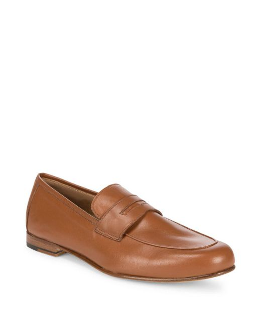 Saks Fifth Avenue - Brown Flex Leather Penny Loafers for Men - Lyst
