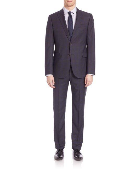 Armani - Black Woolen Notched Lapels Suit for Men - Lyst