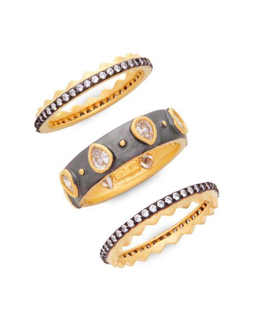 Freida Rothman - Metallic Bezel Three Stack Ring Set - Lyst
