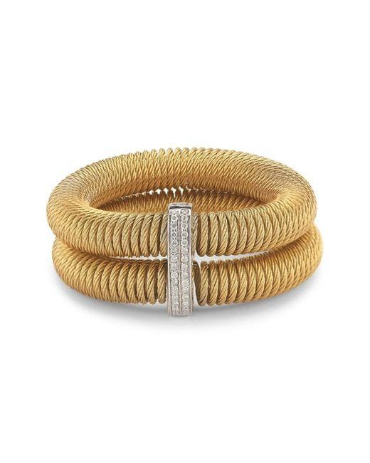 Alor Metallic Women's Kai 18k White Gold & Yellow-tone Stainless Steel Diamond Tiered Coiled Bangle Bracelet