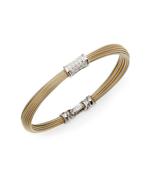 Alor | Metallic Classique Diamond, 18k Yellow Gold & Stainless Steel Bangle Bracelet | Lyst