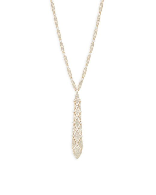 Adriana Orsini - Metallic Crystal And 18k Rose Gold Pendant Necklace - Lyst