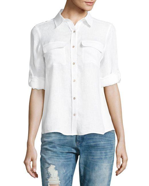 Calvin Klein   White Linen Roll Sleeve Blouse   Lyst
