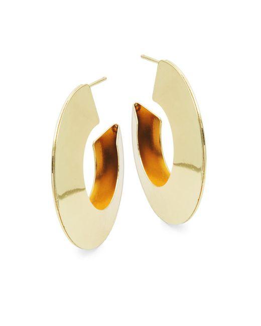 Kenneth Jay Lane - Metallic Goldtone Half Hoop Earrings - Lyst
