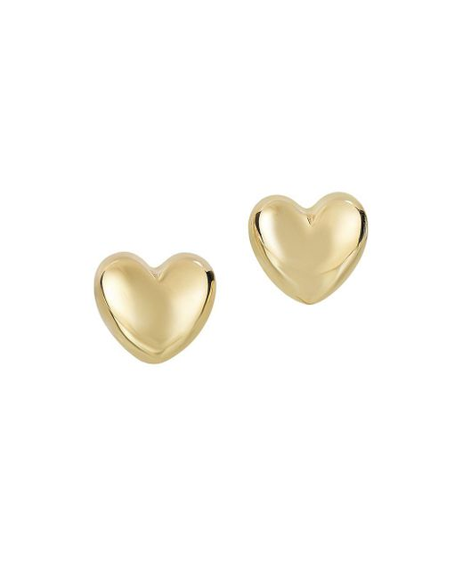 Saks Fifth Avenue - Metallic 14k Yellow Gold Heart Earrings - Lyst