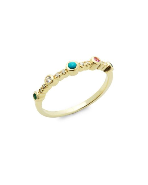 Danni - Metallic 14k Yellow Gold & Stone Simple Band Ring - Lyst