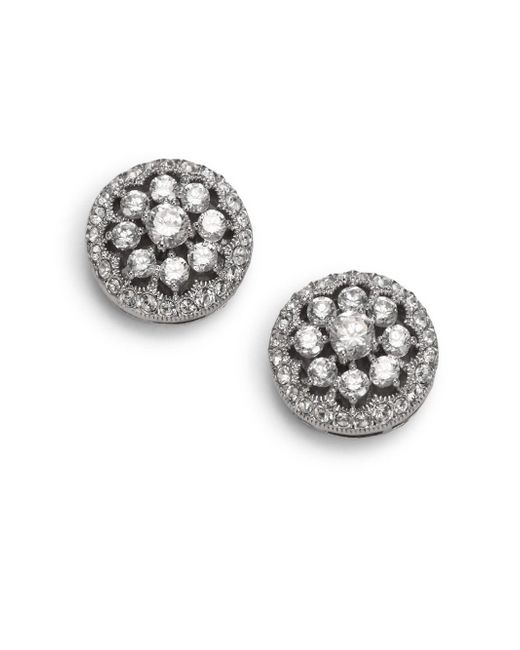 Adriana Orsini - Metallic Faceted Floral Button Earrings - Lyst