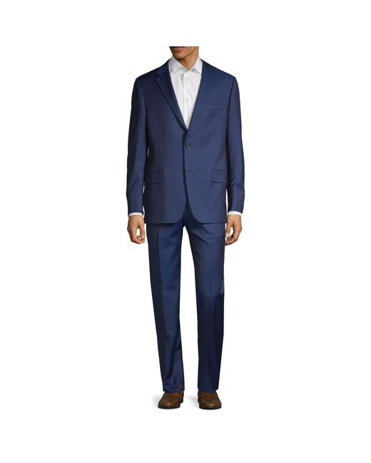 Hickey Freeman Blue 2-piece Classic Fit Wool Suit for men