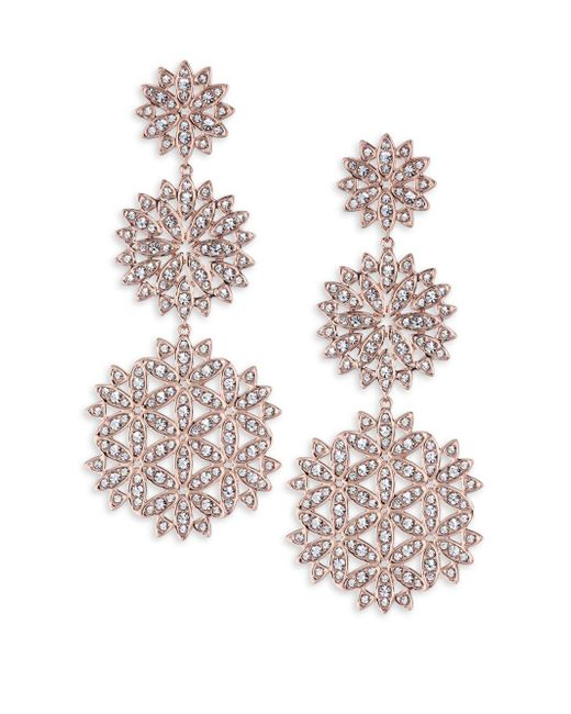 Adriana Orsini - Metallic Pavé Snowflake Drop Earrings - Lyst