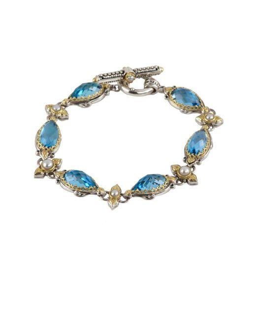 Konstantino - Amphitrite 3-4mm White Pearl, Swiss Blue Topaz And Sterling Silver Bracelet - Lyst
