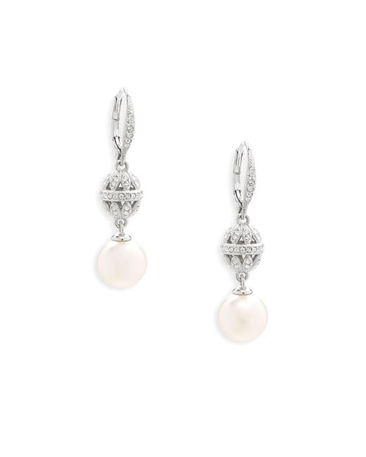 Adriana Orsini - Metallic Faux Pearl Drop Earrings - Lyst